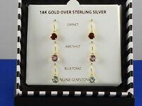 Victoria Townsend 18k Gold Sterling Genuine Multi Gemstone Drop Earrings Set 3pc