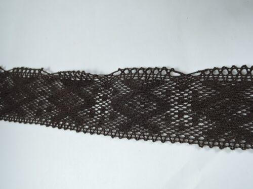 Chocolate Brown Flat Lace Trimming 50mm X 5 Metres Edging Haberdashery Sewing