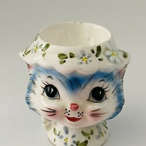 VINTAGE-LEFTON-034-MISS-PRISS-034-BLUE-KITTY-RARE-EGG-CUP-HOLDER-8174-2-5-034-TALL-HTF