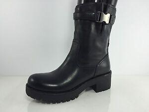 Prada Womens Black Leather Buckle Boots