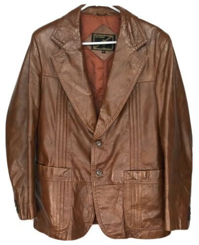 Mens 42 Vintage Lance Limited Classic 1970s Brown… - image 1