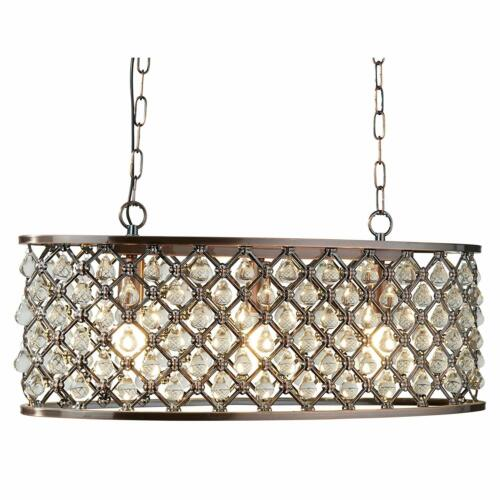 Antique Copper Searchlight Marquise 3 Light Oval Bar Ceiling Chandelier