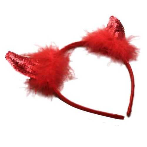 Red Sequin Devil Horn Alice Hair Band Headband Fancy Dress Party Hen Halloween