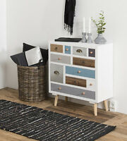 Shabby Chic Sideboard Vintage Retro Style White Room Furniture Leg Chest Drawers