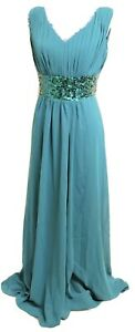 New-Astrapahl-Teal-Chiffon-Sequin-Full-Length-Occasion-Party-Evening-Dress-UK-14