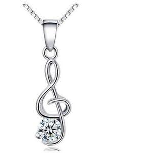 b417d0031c86e3 Women 925 Sterling Silver Music Note Cubic Zircon Pendant Necklace ...