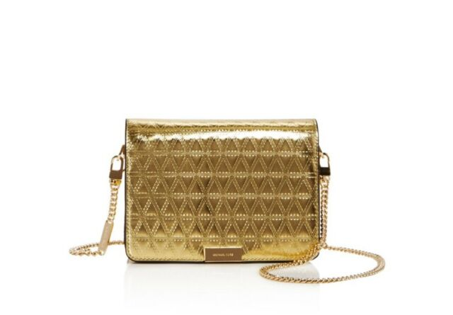 e2cbbe14b14 Frequently bought together. Michael Kors Jade medium Gusset clutch gold  leather quilted ...