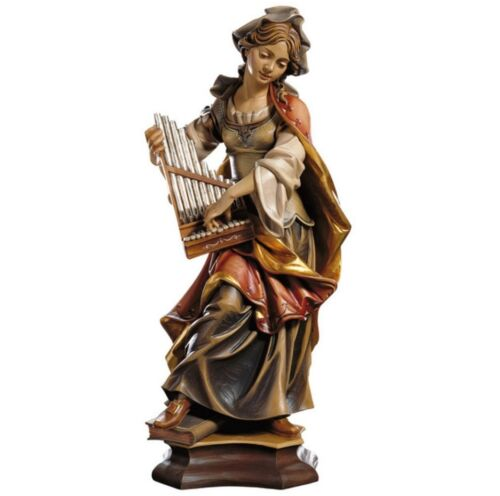 Statue Figur Santa Cecilia cm 20 in Holz der in Gröden Dekoriert Hand