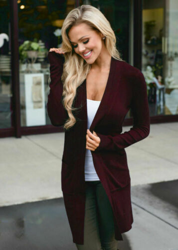 Cardigan Solid Coat Casual Sweater Autumn Long Jacket Jumper Sleeve Women/'s