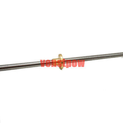 Copper Nut THSL-400-8D 3D printer 8mm  T8 Lead Screw Pitch 2mm Lead 2mm L400mm