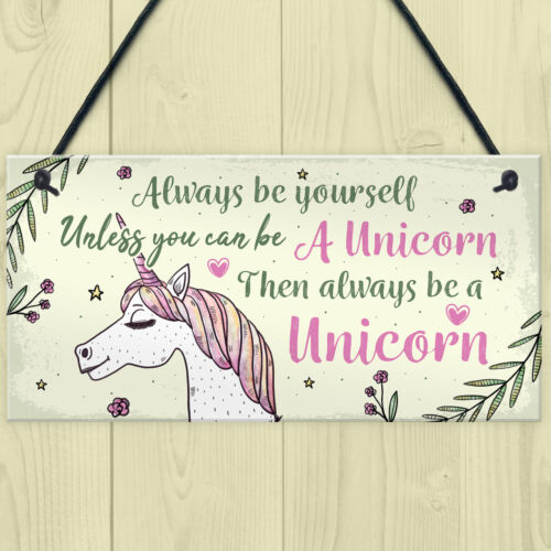 Always Be Yourself Unless You Can Be A Unicorn Cute Wall Plaques Gifts For Her