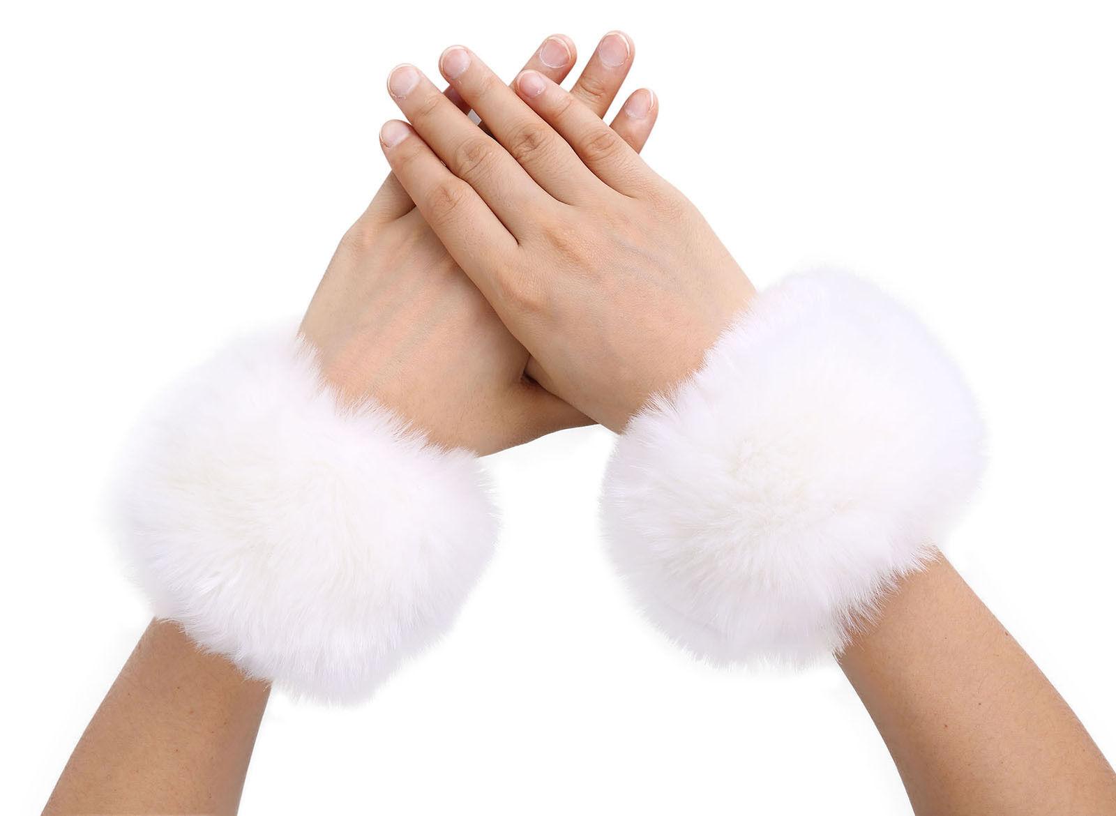 Women Warm Winter Faux Fur Muff Plush Cuff Oversleeve Wristband Elastic GlovesNP