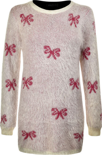 Fluffy Ladies Soft Stretch Women Long Knitted Winter Jumper Size M//L Style B98