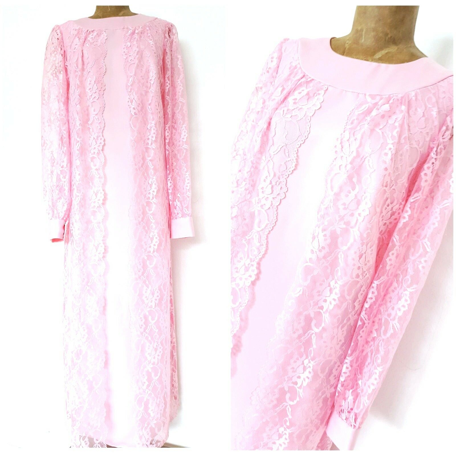 Vintage 80s Ann's Vogue Shoppe Dress Size Medium Mother of the Bride Easter Lace