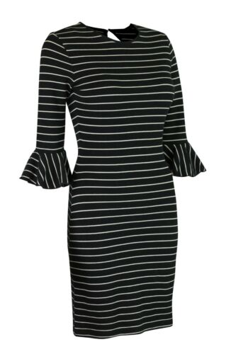 M/&S Marks /& Spencer Womens Ivory or Black Striped Flute Sleeve Cotton Midi Dress