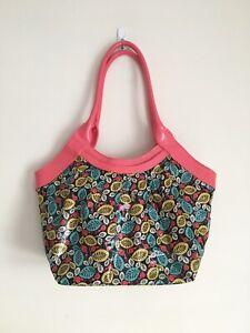 Vera-Bradley-Frill-Fan-Club-Tote-Shoulder-Bag-Happy-Snails-Pattern-Leaves-Pink