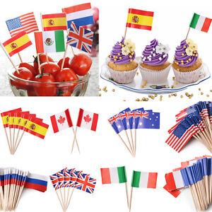50 mini world flag pick toothpick fruit cupcake sandwich cake food
