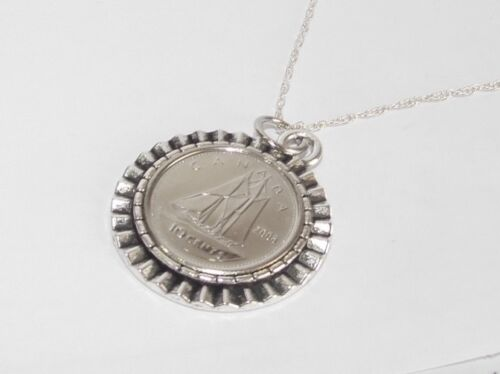 Gear Pendant 1989 Canadian Dime 30th Birthday 18 inch Sterling Silver Chain