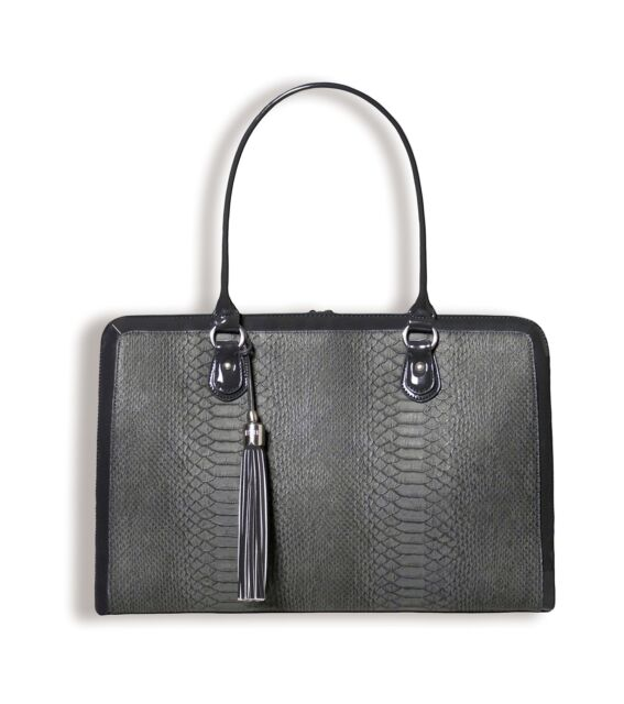 1e60b32f3ea BfB Briefcase Computer Bag - Handmade 17 Inch Laptop Bag for Women -  Charcoal.