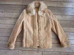 Vintage-Women-Faux-Fur-amp-Suede-Medium-Coat-Used-parts-and-ink-spots