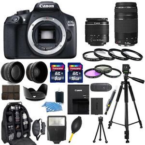 Details about Canon EOS 1300D / Rebel T6 Camera + 18-55mm + 75-300mm + 30  Piece Bundle