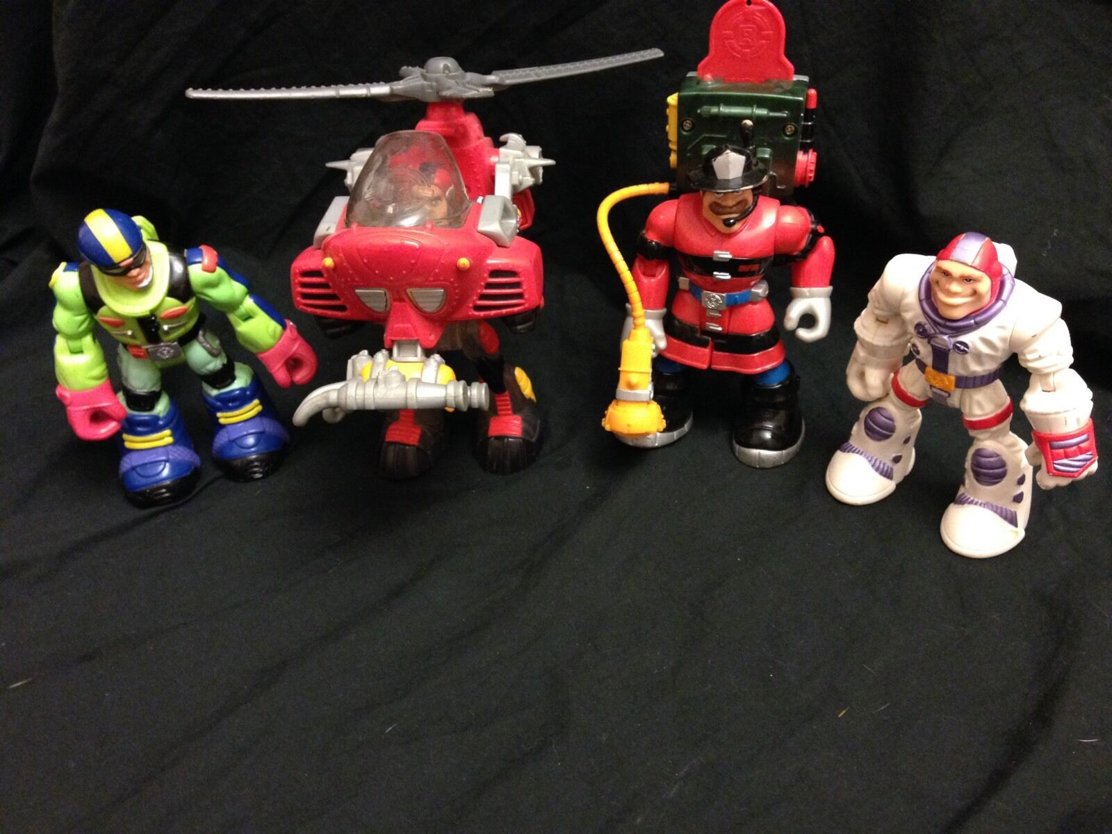 Rescue Heroes Lot of 4 Figures Fisher Price Action Figures & Vehicle Toys GUC