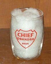 CHIEF OSHKOSH Beer Enamel Barrel Beer Glass 1960s Oshkosh Wisconsin Smooth Arrow