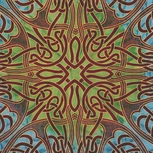 Handmade 100/% Cotton Celtic Circle Wheel Of Life Batik Tapestry Spread Twin Blue