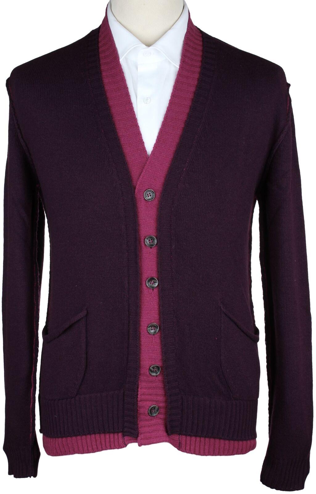 c710a29373da0 BYBLOS SWEATER wool cashmere purple magenta luxury L CARDIGAN NWT ...