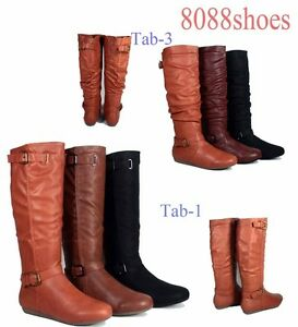Women-039-s-Zipper-Flat-Heel-Round-Toe-Mid-Calf-Knee-High-Boots-Shoes-Size-6-10-NEW