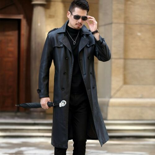 Men/'s Leather Jackets Trench Coat Waterproof Dust Overcoat Double Breasted Lapel