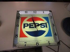 Vintage 1960s Pepsi-Cola Lighted Clock - Working