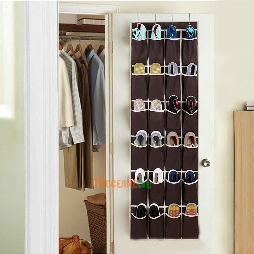 Over the Door Shoe Organizer Rack Hanging Storage Space Saver Hanger 24 Pocket