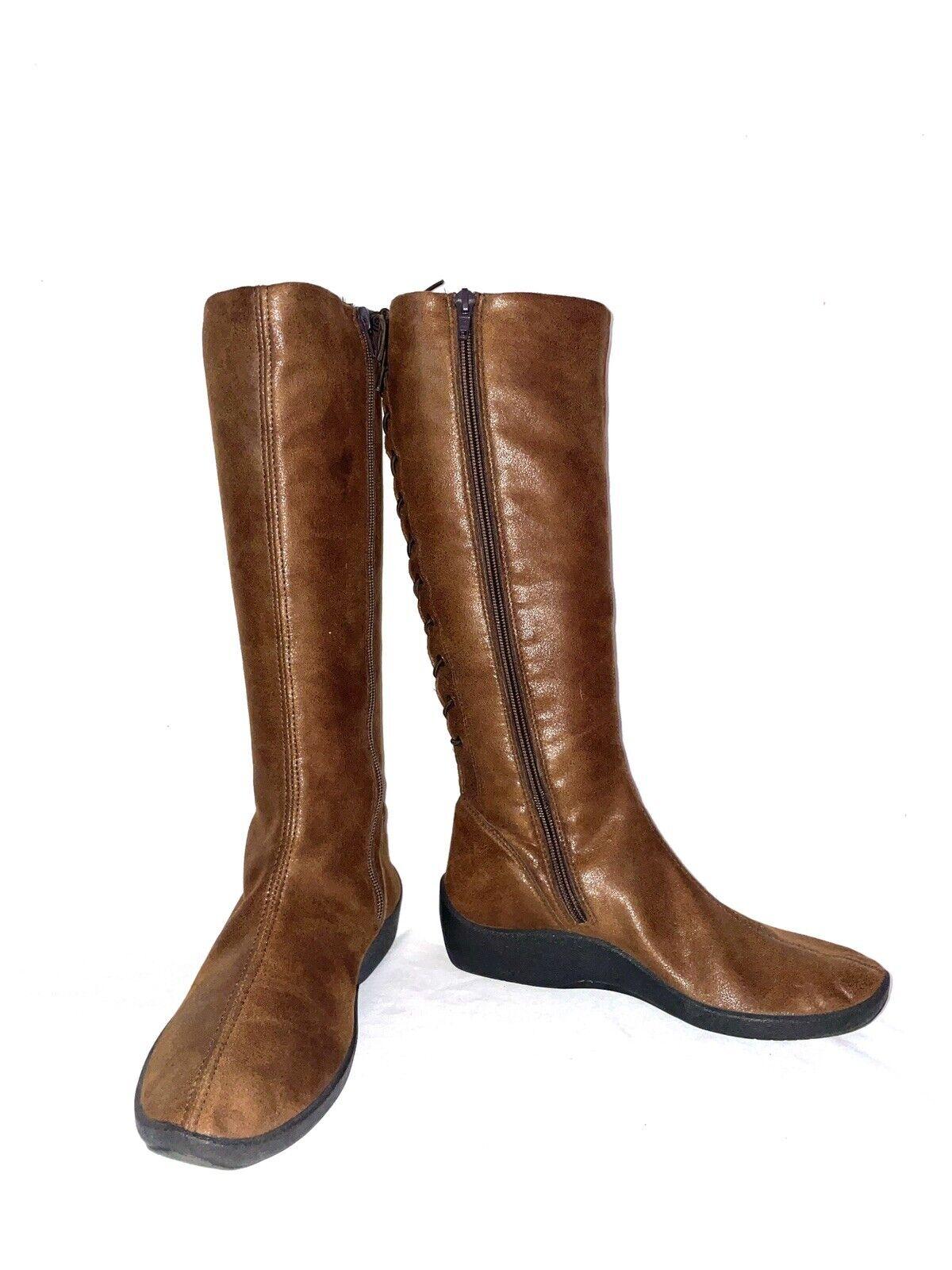 Arcopedico Lytech Vegan Knee High Boot Zipper Lace up back Wedge Metallic sz 6.5