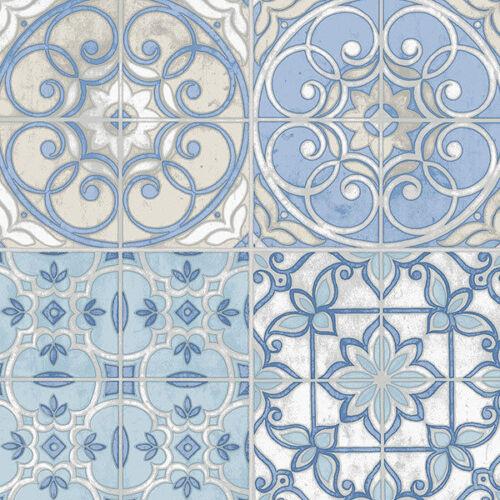 Patton Designer Country Kitchen Mosaic Tiles Blue Wallpaper Farmhouse Chic