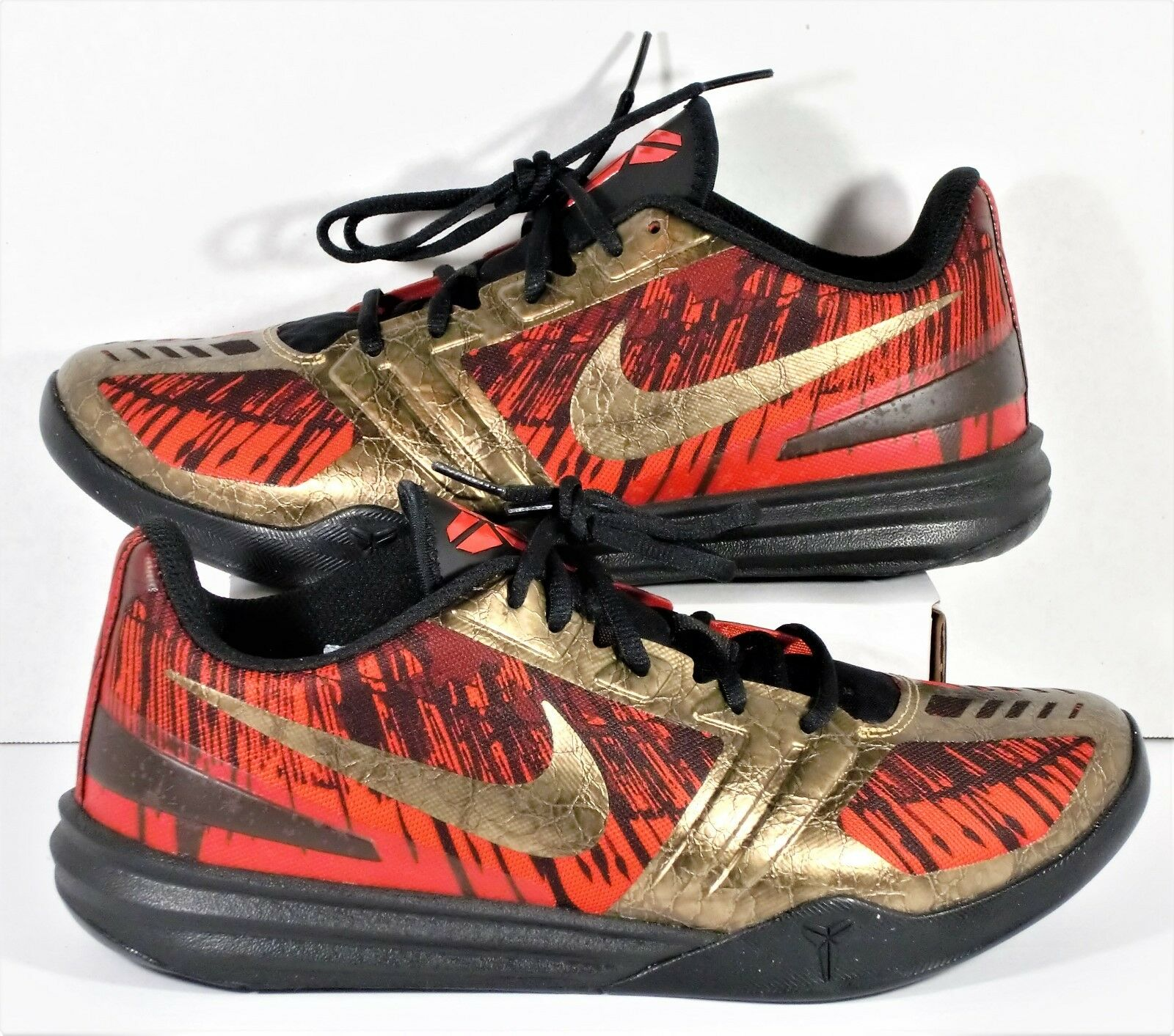 Nike Kobe Mentality Black Metallic Aged Coin Red & Gold Lunarlon Shoe Sz 9 NEW