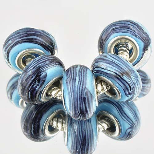 D6071 5pcs Silver GF MURANO GLASS BEADS LAMPWORK fit European Charm Bracelet