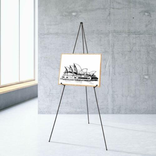 """Black Steel 63/"""" Collapsible Easels Displays Signs Art Carrying Case Lot of 6"""