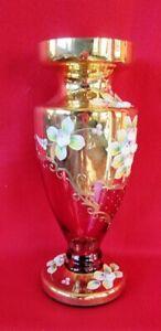 Vaso in vetro  dorato con decorazioni  floreali dipinti a mano altezza cm 40