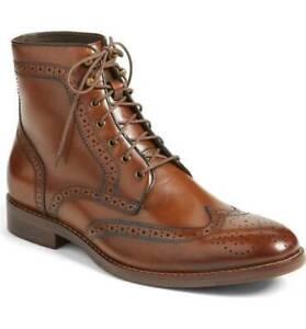 HOMMES-fait-main-cuir-Chaussures-Richelieu-a-Marron-Bout-D-039-Aile-Haute-Cheville-Bottes-Semelle-en