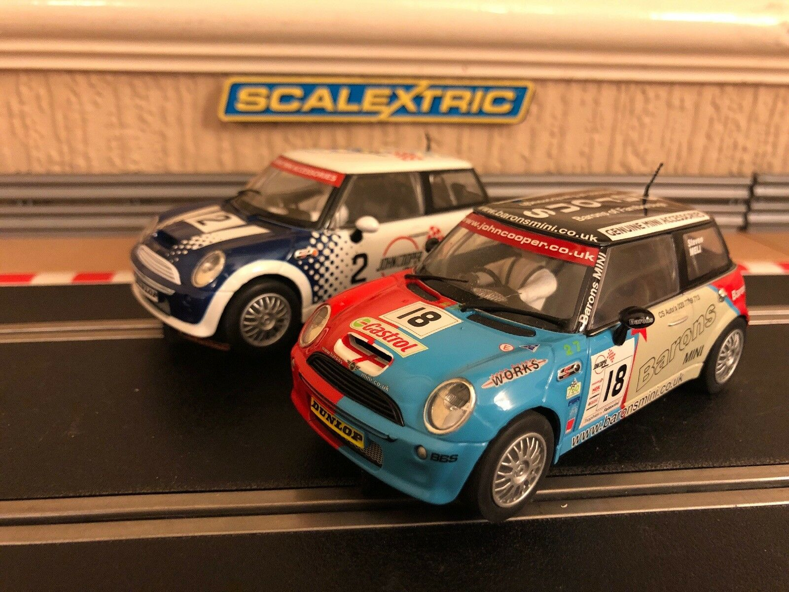 Scalextric Mini Coopers No2 & No18 Good Condition New Braids Fitted