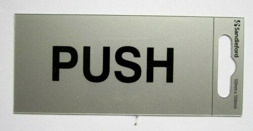 /'PUSH/' Sign 10cm x 5cm Self Adhesive Semi Rigid Plastic Freepost