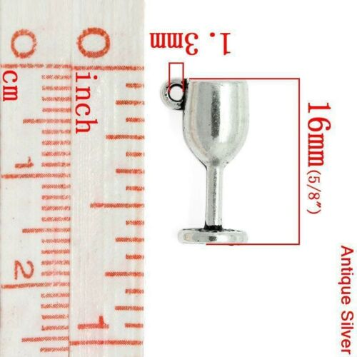 10 x Tibetan Silver WINE GLASS GOBLET HARRY POTTER CHALIS 3D Charms Pendants