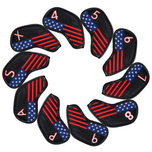 Black-America-Flag-Iron-Golf-Head-Club-Covers-Cover-Set-10pcs-For-Callaway-Ping