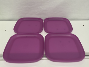 """Tupperware Luncheon Square Plates 8/"""" raised sides PURPLE Set Of 4 New"""