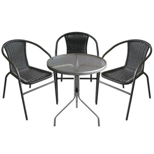 Set da Bistrot tavolo in vetro ø60x72cm ARGENTO 3x sedie in polyrattan batch Nero