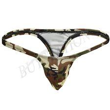 Mens Camouflage T-Back Thongs Jockstrap Trunk Briefs G-string Underwear Swimwear