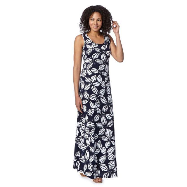New The Collection @ Debenhams Gorgeous Cotton Navy Floral Maxi Dress 10-18