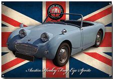 AUSTIN HEALEY FROG EYE SPRITE METAL SIGN.GARAGE SIGN.BRITISH CARS.