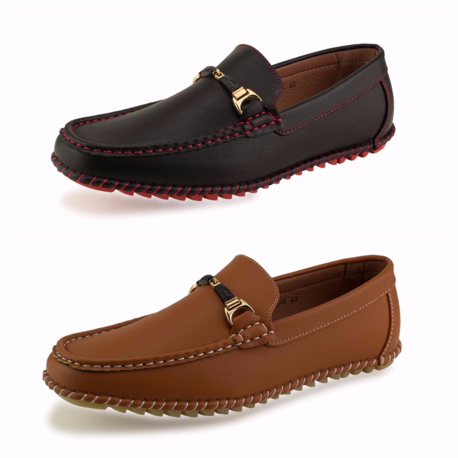 Mens Slip On Black Tan Smart Fashion Office Designer Dress Formal Casual Shoes